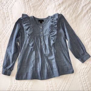 J. Crew Ruffled Chambray Blouse